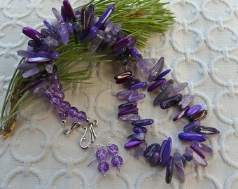 22 Inch Shades of Purple Stick Bead Necklace with Earrings