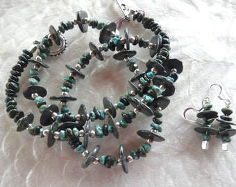 26 Inch Green Turquoise Nuggets and Black Disks Necklace and Earrings
