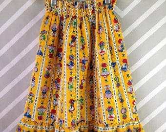 vintage holly hobbie prairie girl quilted maxi skirt by her majesty size 2 3 4 5 years