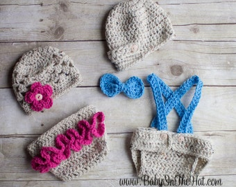 Newborn Twins Boy and Girl Hat Diaper Cover Set Crochet Photo Prop 0-12 Months