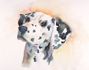 dalmatian print , dalmatian painting , pet painting, dog portrait, dalmatian art, dog memorial, pet loss gift, pet memorial