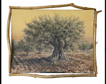 A golden  olive tree Jerusalem, painted with golden oil paint, Framed with Olive branch. By Miki Karni