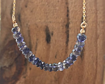 Iolite Necklace Water Sapphire Beaded Bar Necklace Dainty Gold Chain Gift Idea September Birthstone Blue Iolite Jewelry