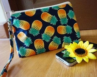Aloha Pineapple fabric zipper pouch, Aloha zipper bag, Pineapple makeup bag, Pineapple cosmetic bag,Pineapple wristlet purse, wristlet ,navy