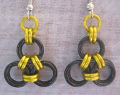 Earrings Simple Chain Maille Geek To Chic Set of 3 Hufflepuff or Steelers