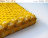 ON SALE Yellow gold triangle silk brocade from India fabric nr 615 - 1/4 yard -  fat quarter