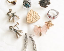 Jewelry Lot including Brooches, Rings, Earrings, Vintage Jewelry, Destash, Craft SPRING SALE