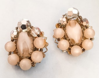 Art Glass Earrings, Rhinestone, 1950s Vintage Jewelry SUMMER SALE