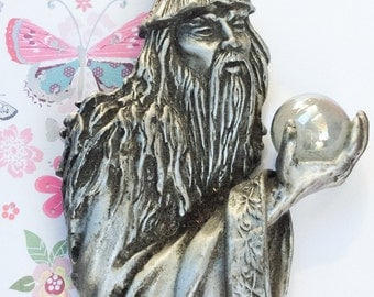 Witch with Crystal Ball Brooch, Pewter Brooch Designer JJ Vintage Jewelry, SUMMER SALE
