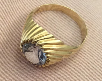 Aquamarine Ring 14K Gold, 585 European Gold, Victorian Art Deco Vintage Jewelry WINTER SALE