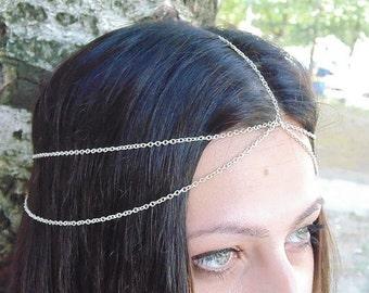 Baroque Chain Headpiece, Chain Headdress, Baroque Headpiece, Boho Headpiece, Crystal Teardrop Hair Jewellery, Bohemian Hair Accessory