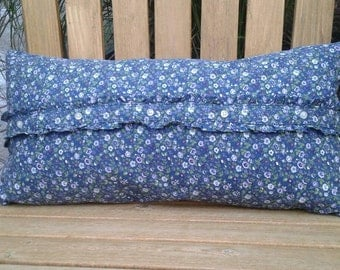 """Navy floral button up pillow girls shabby chic 11""""x21"""""""