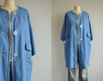 Vintage 1950s Coat / 50s Chambray Blue Indigo Linen Cotton Artist Smock Duster