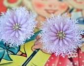 adorable 1950s vintage snowflake lavender with rhinestone center clip on earrings / vintage earrings / purple earrings/ plastic earrings