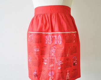 1970s vintage calendar red half apron