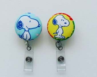 SALE Snoopy Fabric Covered Button Badge Reel - Badge Reel- Retractable Badge Holder - Nurse Badge Reel- ID Holder - Name Badge Holder