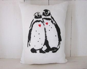 Penguin pillows, decorative pillows,farmhouse decor, wedding gift,penguins, valentine's day gift, turquoise pillows