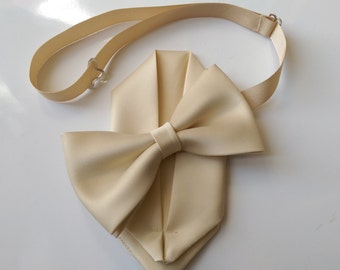 Adult & Kids sizes Pale Gold bow tie with pocket square set