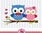 Valentine's Day Sweet Owls,Owl Couple Clipart digital clip art CHERRY2- for Personal and Commercial Use