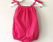 Baby girl romper bubble romper pink and yellow polka dots playsuit