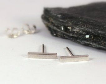 Square Bar Studs, Sterling Silver, Made to Order