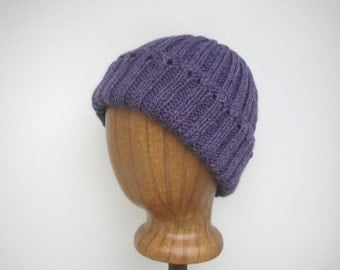 Women's Knit Hat, Wisteria Purple, Pure Wool, Watch Cap Beanie, Teen Girls Warm Cap