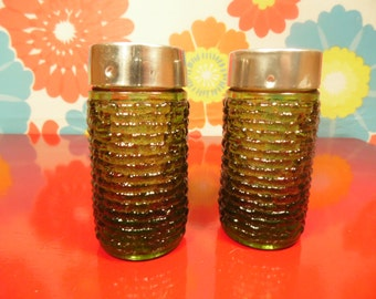 Vintage Anchor Hocking  Sorento Salt Pepper Shakers -  Green Lido - Avocado Green
