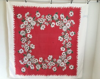 Vintage Tablecloth, Red and White Daisy Tablecloth, Red Vintage Table Linens, White Daisies