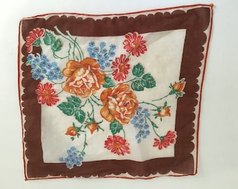 Vintage Handkerchief, Vintage Hankie, autumn colours, brown and orange handkerchief