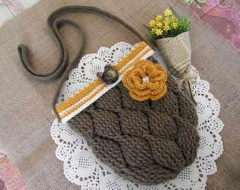 CROCHET PATTERN BAG - Diamonds Bag - crochet crossbody pattern pdf pattern Instant Download Flower Bag purse with button crochet pattern
