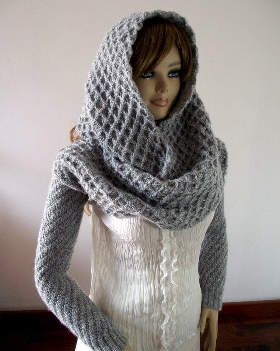 Knitting Pattern For Scarf With Sleeves : KNITTING PATTERN HOOD with Sleeves Hooded Scarf Pattern
