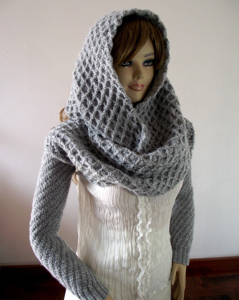 Knitting Pattern Scarf With Sleeves : KNITTING PATTERN HOOD with Sleeves Hooded Scarf by LiliaCraftParty