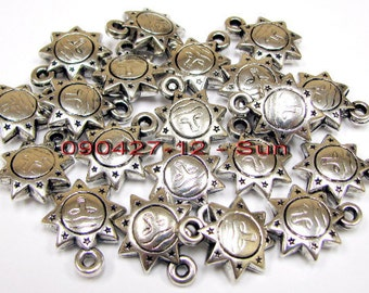 Silver Plated Plastic Charms_  15  to 19MM, 12 to 24 Pcs Per Pack_ 4 Styles Available