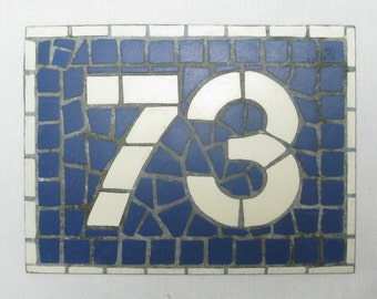 House Number Plate No. 73, Original French Blue and White Sign, Mosaic Signs, French Signs, French House Number Plate, Blue and White Signs