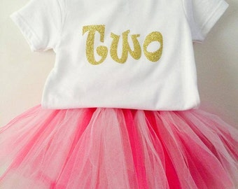Pink and Gold TWO tutu birthday outfit