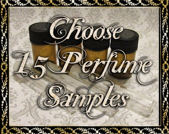 Perfume Oil Samples: Choose Fifteen (15) 1mL or 2mL Samples, Perfume Oil, Cologne Oil, Natural Fragrance, Ships Out in 5-7 Days