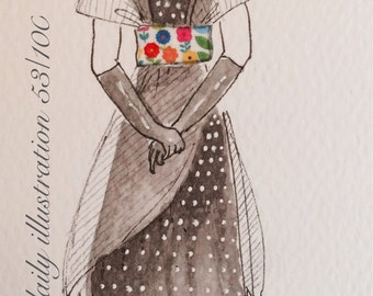 "Daily Illustration # 53/100 ""Edwardian Dress"" Original Hand Drawn Art"