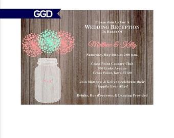 Rustic Wedding Reception Invitation with Mason Jar, reception only invitation, destination wedding reception invite-Printed or Digital File