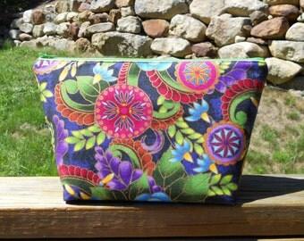 Large Makeup Bag, Flowers, Flower Makeup Bag, Knitting Project Bag, One of a Kind