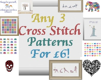 Any 3 Cross Stitch Pattern Combo Deal, PDF, DMC