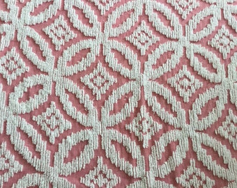 Vintage Chenille Bedspread/Cutter reuse sewing projects/ Chenille Fabric/ Floral