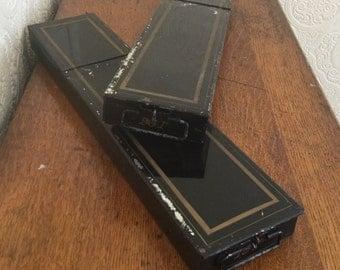 Antique Black Metal Bank Boxes,Safe Deposit Boxes,Set of Two