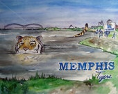 University of Memphis Tigers Art Print // Mississippi River Watercolor Painting // Memphis Tennessee Skyline