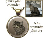 Digitally Painted Portrait of Your Cat, Dog, Any Pet - Pendant and/or Earrings and/or Pin and/or Bag Clip