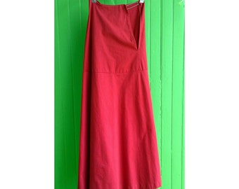 Beautifil Comme des Garcons Archive Red Double Layered Maxi Skirt Safety Pin Closure