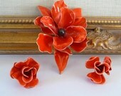 Red Orange Poppy Enamel Brooch and Clip On Earrings Demi Parure Large Flower Set Vintage Costume Jewelry