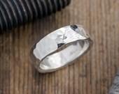 6mm  Hammered Mens Wedding Band, Polished