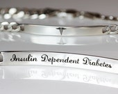 Medical Identification Alert Bracelet, Unisex Engraved Personalized Jewelry, Sterling Silver, Affortable, SALE, LIMITED QUANTITY
