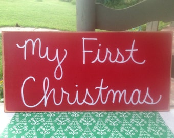 Red and White My First Christmas Photo Prop Sign, Christmas Sign Props