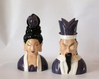 Vintage Chinese Dynasty Ceramic Busts.